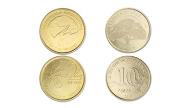 Las nuevas monedas de 2 y 10 pesos